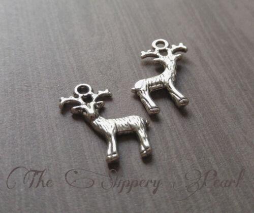 BULK Charms Deer Charms Antiqued Silver Deer Pendants Nature Charms Wholesale 50