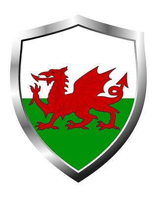 Wales country flag shield sticker vinyl decal