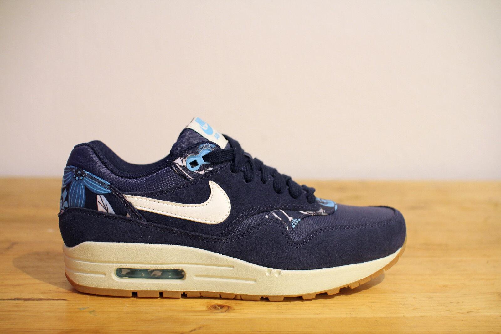 Nike Air Max 1 Floral Print blue Gr. 38 UK 4,5 NEU & OVP