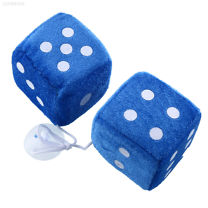 Blue Dice Fuzzy Rear Dots Car Plush Dice Pair 7cm Mirror View Auto Plush Dice