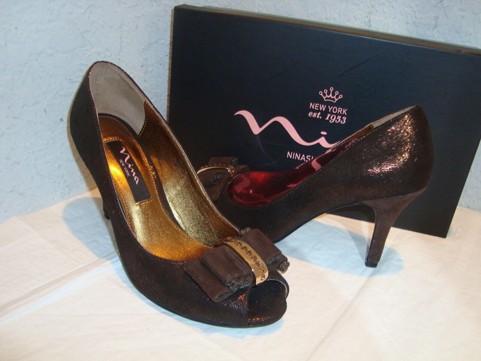 New Nina New York femmes Frosti Bronze Burnish Heels chaussures 6.5 Medium
