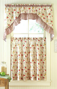 Details about 3 Piece Classic Country Apple & Pear Kitchen Curtain Set  Kitchen Swag Panels