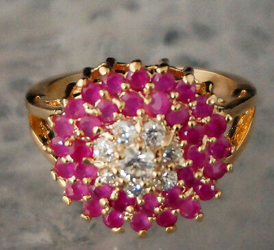 GENUINE RED RUBY & WHITE CZ 925 SILVER RING SIZE 5.5:6.5:7.5:8.5 GOLD PLATED