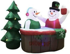 CHRISTMAS-7-Ft-SNOWMAN-COUPLE-IN-HOT-TUB-Airblown-Lighted-Yard-Inflatable