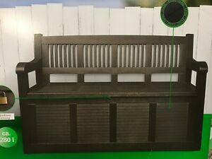 Truhenbank Auflagenbox Kissenbox Gartenbank Gartenmobel130cm 2 Sitzer Anthrazit Ebay