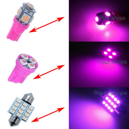 13pcs LED Light Interior Package Kit Pure Pink Dome Map License Plate Lamp Bulb