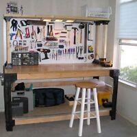 Workbench Table Kit Diy Bench Custom Storage Wooden Shelf Garage Shop Workshop
