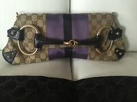 GUCCI Tom Ford Monogram Rose Gold Chain Horsebit Flap Web Clutch Bag Ret $2900