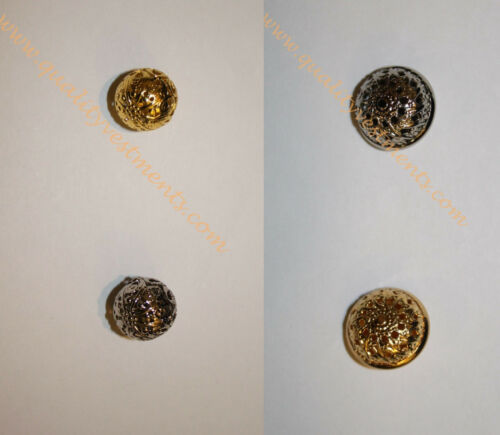 READY TO SHIP Full or Half-Round Button Metal Silver or Gold 5/8 (1.6 cm) Diam.
