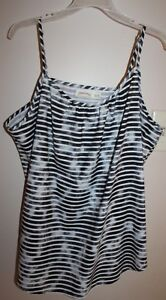 2603c488d529c FADED GLORY XXL 20 Black White Striped Spaghetti Strap Woven Tank ...