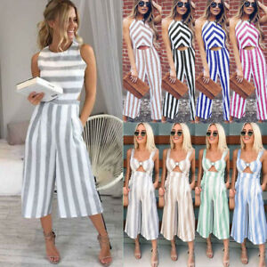 45c11d92141f Image is loading Women-Ladies-Striped-Long-Jumpsuit-Rompers-Casual-Clubwear-