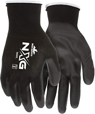 Safety Nylon Knitted Work Gloves Shell Black Pu Palm Fingers Large 1 Pair Mcr