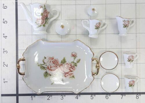 MINIATURE Collectible ROSE Porcelain Tea Set Teapot Sugar Bowl Creamer 2 Teacups