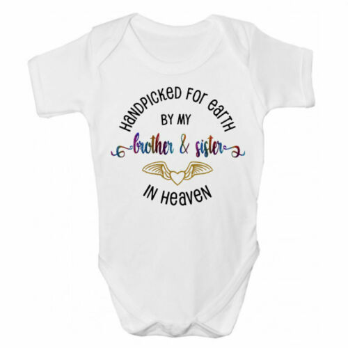 Hand Picked For Earth By My Brother /& Sister In Heaven Rainbow Baby Grow