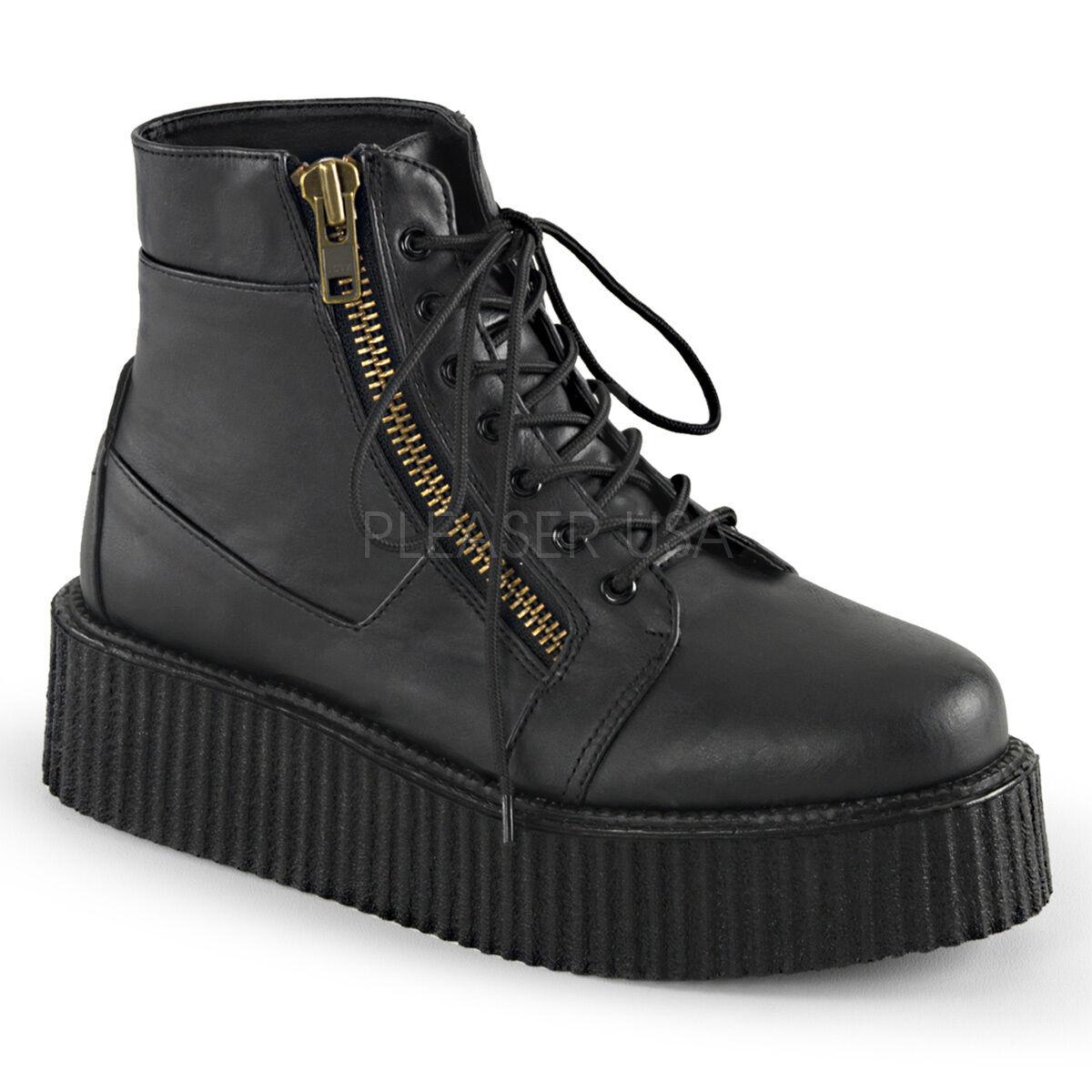 New Demonia 2  Vegan Platform Exposed Zipper Creeper Boots Goth Punk Men's 4-13