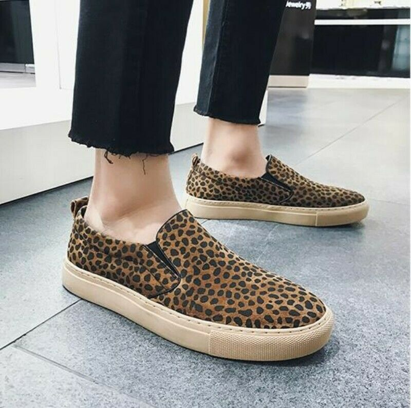 Spring nuovos Mens Leopard Slip On Loafers Leisure Casual Canvas sautope Stylish Sz