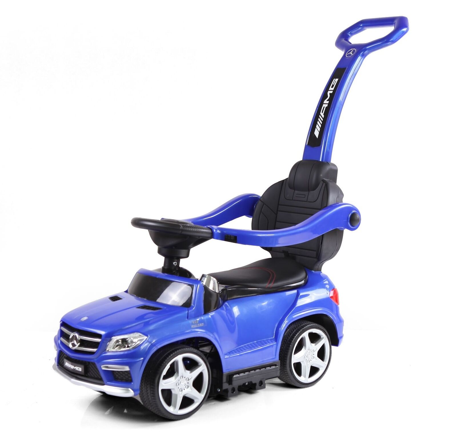 Mercedes-Benz GL-63 AMG - Slide voiture 4in1 Rutschauto + Wippe blau Gummireifen