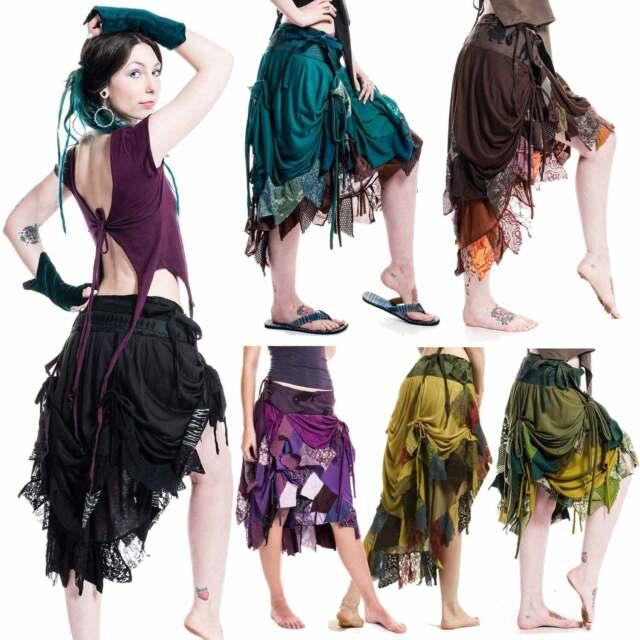 HIGH-FRONT RAGGED PIXIE WRAP SKIRT, steampunk, burlesque, psytrance, Boho, gypsy