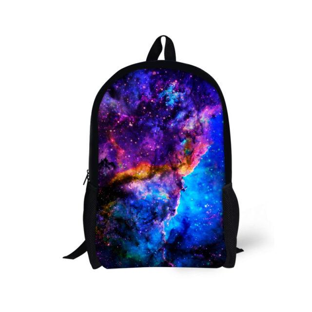 17 Inch Blue Galaxy Backpack Children Large School Bag Durable Bookbag Boys
