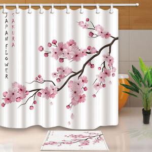 Sakura Japan Cherry with Blooming Flowers Shower Curtain 12 Plastic Hooks 71inch