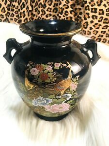 VINTAGE Japan Black  Porcelain Vase ~ Hand Painted ~ Floral Peacock Multicolor