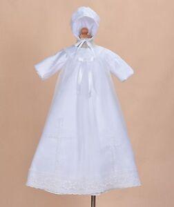 Cinda-bebe-manches-longues-blanc-satin-long-bapteme-robe-et-Bonnet-9-12-mois