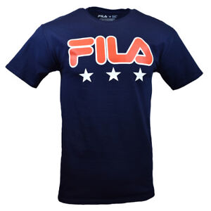 FILA-Men-039-s-T-shirt-S-M-L-XL-2XL-3XL-Fila-Logo-amp-3-Stars-Athletic-NAVY-BLUE-New