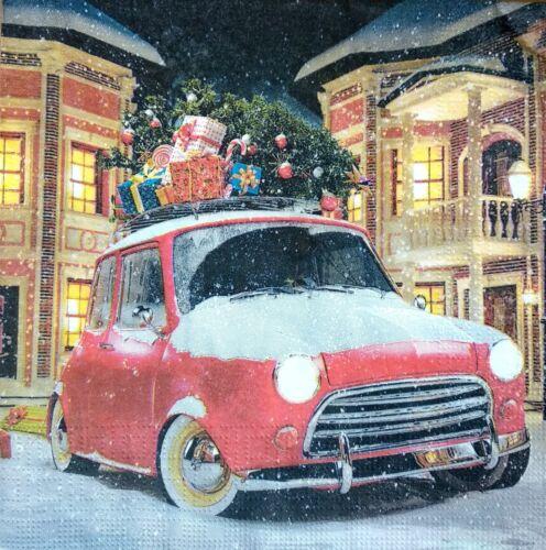4 papel de Almuerzo Servilletas Para Decoupage Mesa de Fiesta Artesanía Vintage vagón de Navidad r