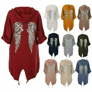 justyouroutfit-womens-12486-sequin-angel-wings-back-tunic-hooded-cardigan-top