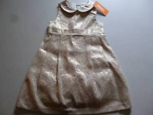 Gymboree-Holiday-Shine-Gold-Brocade-Dot-Dress-Christmas-Formal-Size-2T-3T-4T-NEW