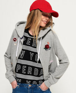 New-Womens-Superdry-Skate-Patch-Zip-Hoodie-Heelflip-Grey-Marl