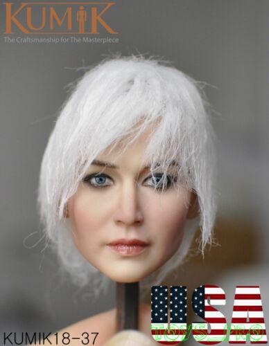 KUMIK 1//6 Female Head Sculpt WHITE HAIR KM18-37 For 12/'/' PHICEN Figure ❶USA❶
