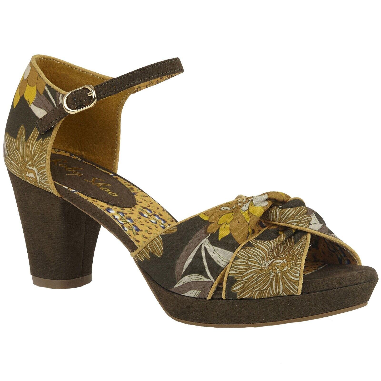Femmes Ruby Shoo Xanthe Olive Floral Plateforme Peep Toe Vegan chaussures 09287