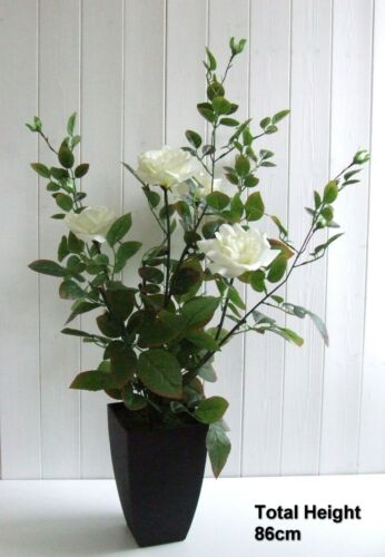 Realistic Artificial Rose Bush 86cm Party Wedding Rose Bush in Full Bloom Potted