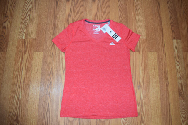 a61550192 Womens adidas Ray Red Ultimate Tee V-neck Fitness Shirt Medium M for ...