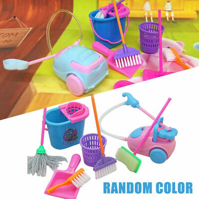 9Pcs//Set Kids Play House Pretend Cleaning Bucket Dustpan Brush Mop Toys Set ·New