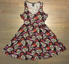HOT TOPIC SWEETHEART SKULL ROSES TATTOO ROCKABILLY GOTH DRESS S SMALL