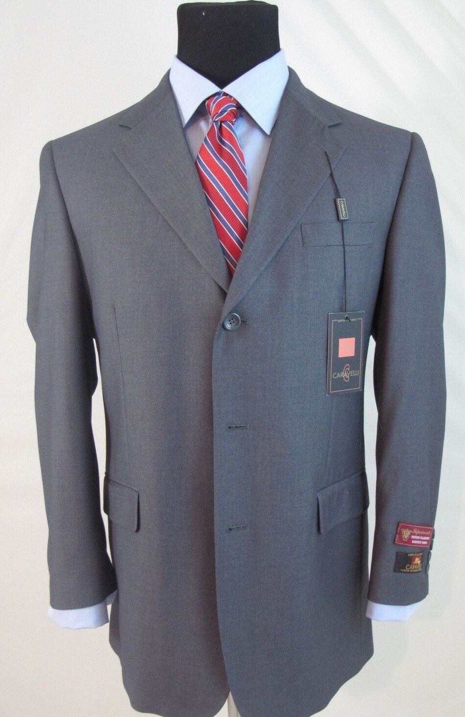 f02ce5ec Caravelli Suit 2Pc Superior150s High Tech Fabric 3 BTN Grey 40R 34W NWT