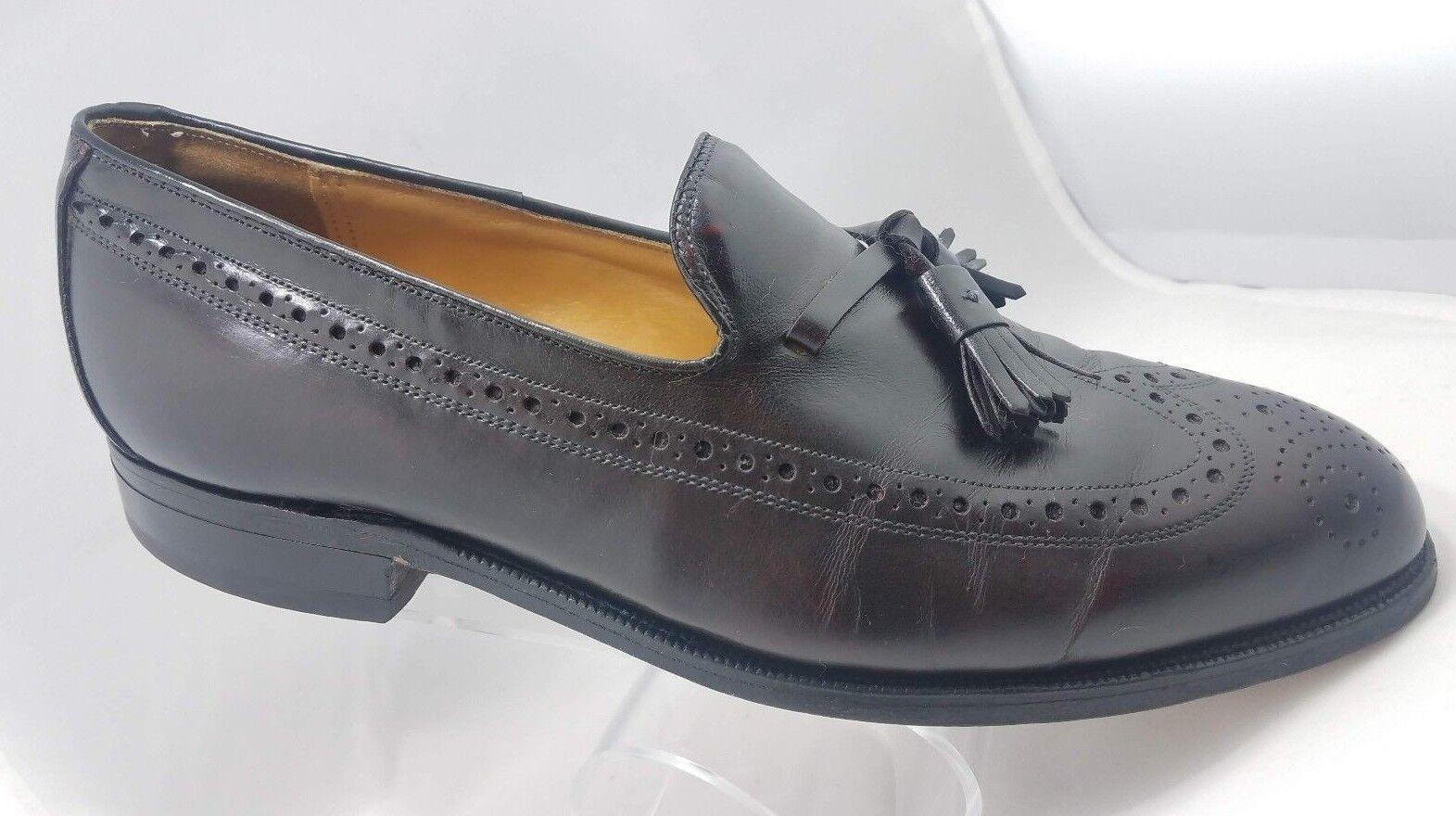 Johnston Murphy Aristocraft Burgundy Leather Slip on Wingtip Loafers Mens 8 USA