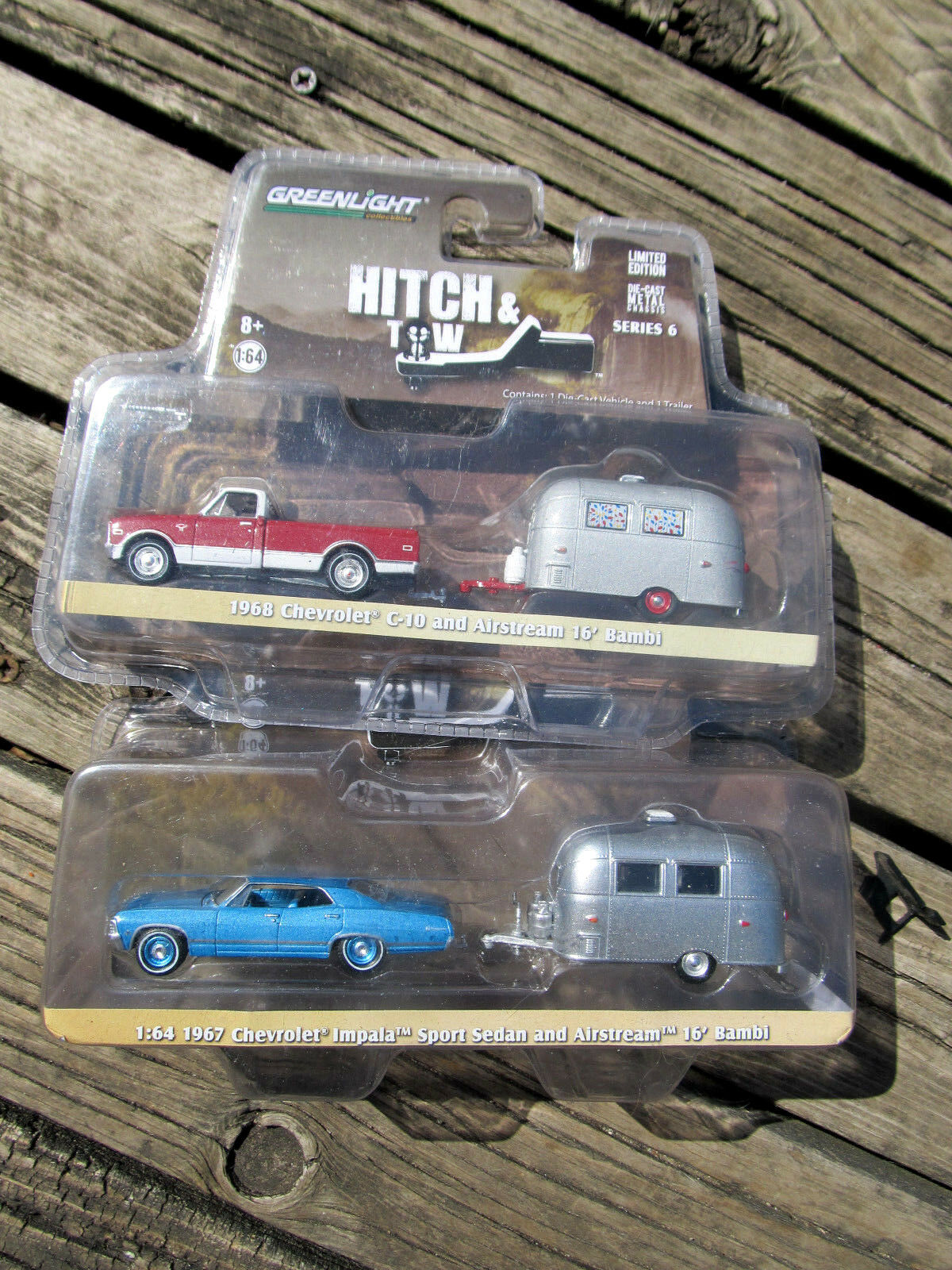 GREENLIGHT  HITCH & TOW LOT1967 iMPALE 1968 CHEVROLET CHEVROLET CHEVROLET C-10  AIRSTREAM 16' BAMBI b03184
