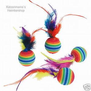 4-Stueck-Rainbowbaelle-mit-Federn-Katzenspielzeug-Katzenspielbaelle-K502203