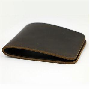 Men/'s Wallet Genuine Leather Simple Handmade Bifold Purse Credit Card Billfold