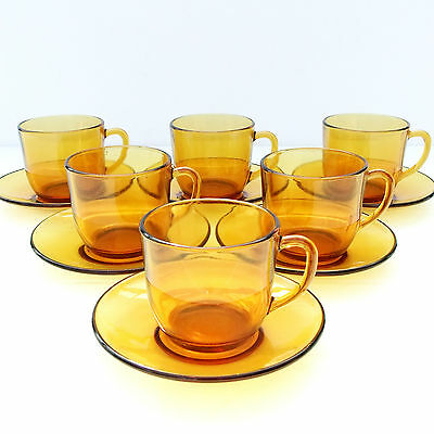 Vintage French Retro 1970s Vereco Amber Glass Tea Coffee Set 6 Cups Saucers