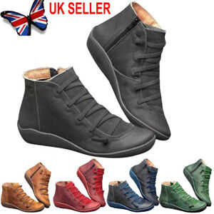 women's winter arch support ankle boots ladies lace up