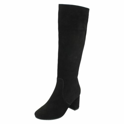 Collection Ladies Heeled Boots Knee Black High Leather 5q6qwfF