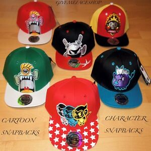0a127de7fd6 Image is loading CARTOON-SNAPBACK-CAPS-FLAT-PEAK-BASEBALL-FITTED-HATS-