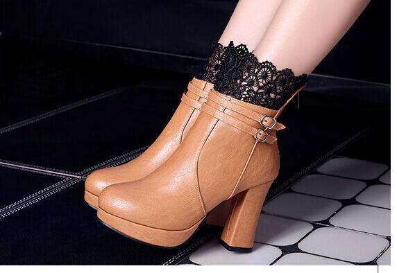 Stivaletti botas zapatos tacco 10  cm pizzo pelle sintetica beige  9130