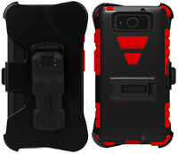 Red Black Tri-shield Case Stand Belt Clip Holster For Motorola Droid Maxx/ultra on sale