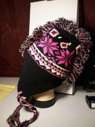 New Multi color Mohawk Winter Hat Wool Fleece Lined TASSLES