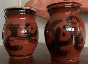 Pair Vintage 1970s Hand Painted Ceramic Vases Planters Mid Century Modern Deyoe